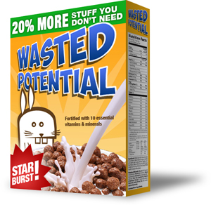 wasted potential cereal box