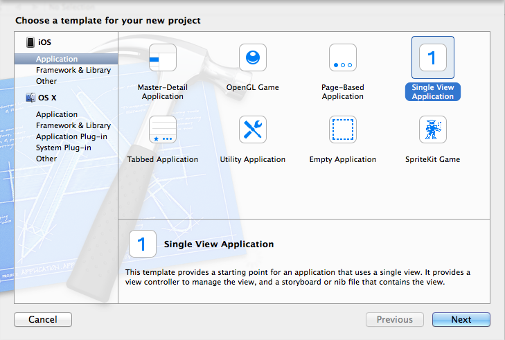 xcode creat a new project
