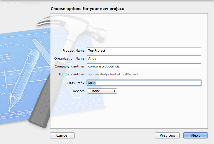 xcode new project setup