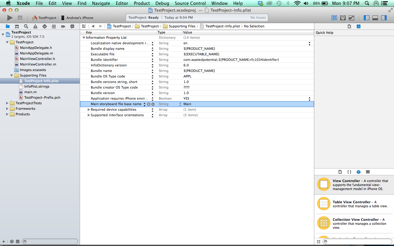 xcode remove storyboard reference from plist